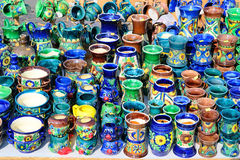 Traditional Cups. Traditional Romanian Cups Exposed For Sale Royalty Free Stock Photos