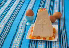 Traditional curd Easter cake and eggs Royalty Free Stock Images