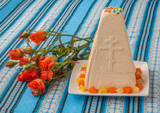 Traditional curd Easter cake on embroidered tablecloth Stock Images