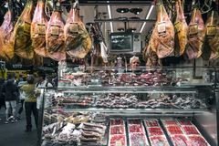 Meat and sausage shop in la boqueria market barcelona spain Stock Image
