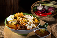 Traditional curry spicy noodle soup Royalty Free Stock Images