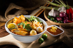 Traditional curry spicy noodle soup Royalty Free Stock Photo