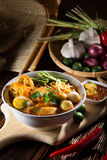 Traditional curry spicy noodle soup Stock Photos