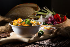 Traditional curry spicy noodle soup Royalty Free Stock Photography