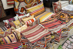 Traditional cushions and carpets in street,Istanbul. Royalty Free Stock Photos