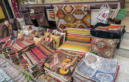 Traditional cushions and carpets in street,Istanbul,Turkey. Stock Image