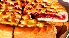 Traditional cut red berry pies Royalty Free Stock Photos