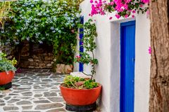 Traditional cyclades architecture on Island of Paros, Naoussa village. Greece.  stock photo