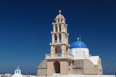 Traditional Cyclades style church in Mesaria village Royalty Free Stock Photography
