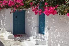 Traditional Cyclades style house in Mesaria village Stock Images
