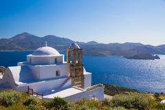 Traditional cycladic church in Plaka village, Milos island, Cyclades, Aegean, Greece royalty free stock photography