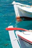 Traditional cycladic fishing boats, Greece stock photo