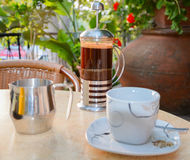 Traditional Cypriot coffee preparation to a terrace of tavern Stock Photos