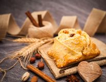 Easter cake with halloumi - Flaounes Stock Images