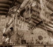 Traditional Cypriot farming tools decorated in a house, Lofou vi Royalty Free Stock Photos