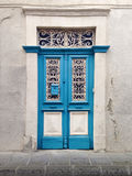 Blue traditional Cyprus village door Royalty Free Stock Photos