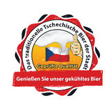 Traditional Czech beer in our town - german language stamp / label Royalty Free Stock Photos