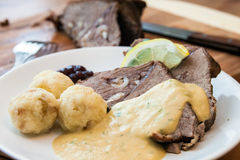 Traditional Czech braised tenderloin in cream royalty free stock photography