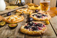 Traditional Czech cake with plums and prunes Stock Photos