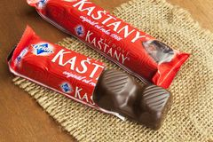 Traditional Czech chocolate bar produced in a factory founded in 1896. Currently belongs royalty free stock photography
