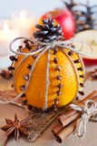 Traditional Czech christmas - decoration - orange decorated with cloves and cinnamon and apple. Home-made decoration. Traditional Czech christmas - decoration Stock Photos