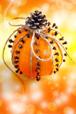 Traditional Czech christmas - decoration - orange decorated with cloves Royalty Free Stock Image