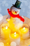 Traditional Czech christmas - decoration of snowman and candles Royalty Free Stock Photography