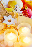 Traditional Czech christmas - golden decoration and candles boat Stock Images