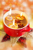 Traditional Czech christmas - homemade decoration - nuts boats with candles and spice in a bowl Royalty Free Stock Images