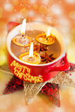 Traditional Czech christmas - homemade decoration - nuts boats with candles and spice in a bowl Royalty Free Stock Photo