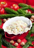 Traditional Czech Christmas potato salad. Inside, indoor, indoors, interior, interiors, gastronomy, cuisine, food, aliment, aliments, meal, meals, nutrition stock images