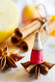 Traditional Czech Christmas - smoking incense cones, star anise and cinnamon Stock Photography