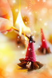 Traditional Czech Christmas - smoking incense cones, star anise and cinnamon Stock Image