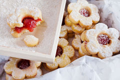 Traditional Czech christmas - sweets baking - Linzer biscuits Stock Photo