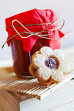 Traditional Czech christmas - sweets baking - Linzer biscuits Stock Photography