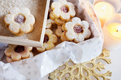 Traditional Czech christmas - sweets baking - Linzer biscuits Royalty Free Stock Photography