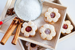 Traditional Czech christmas - sweets baking - Linzer biscuits Stock Images