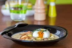 Traditional Czech cream cheese soup with mushrooms and egg Royalty Free Stock Image