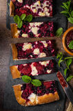 Traditional Czech crumble with berries Stock Images