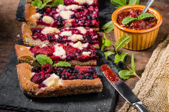 Traditional Czech crumble with berries Stock Photo