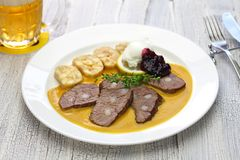 Traditional Czech cuisine. Svickova na smetane beef in sour cream sauce served with knedlik bread dumpling, traditional Czech cuisine stock images