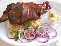 Traditional Czech dish of roasted pork leg with fresh red onions, horseredish, sauerkraut, cranberry sauce on a white stock photos