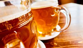 Traditional Czech draft beer in glass royalty free stock image