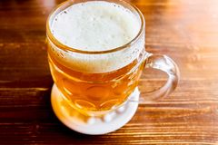Traditional Czech draft beer in glass royalty free stock images
