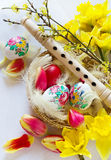 Traditional Czech easter decoration - wooden flute music instrum. Ent with painted eggs with daffodils and tulips flower in the nest with white feathers. Spring Royalty Free Stock Image
