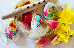 Traditional Czech easter decoration - wooden flute Stock Photo
