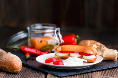 Traditional Czech sausages  in vinegar with onion Royalty Free Stock Photo