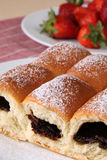 Traditional Czech yeast buns stuffed with jam Stock Photos