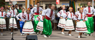 Traditional dance at the Day of Ukrainian culture in Barcelona Stock Photos