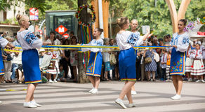 Traditional dance at the Day of Ukrainian culture in Barcelona Stock Photography